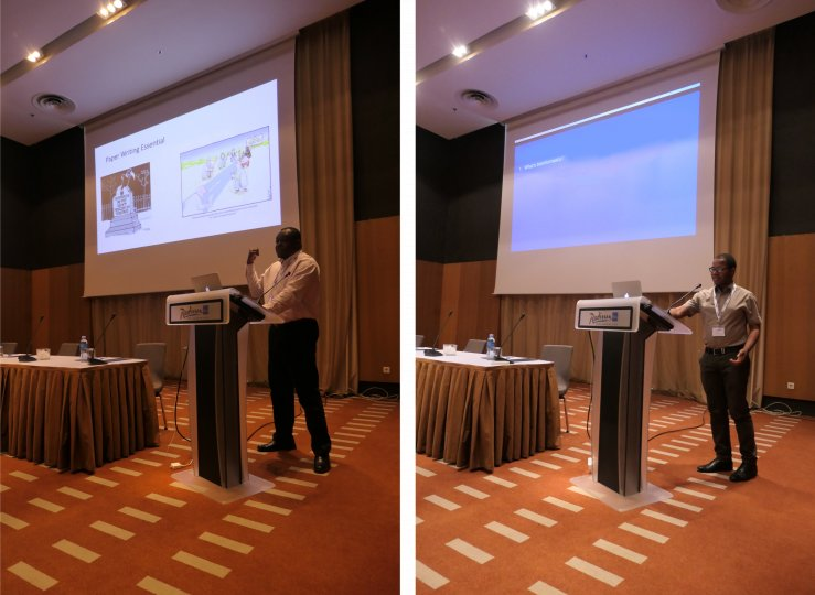 Two pictures, each of an adult man standing behind a podium, in front of a projector screen.